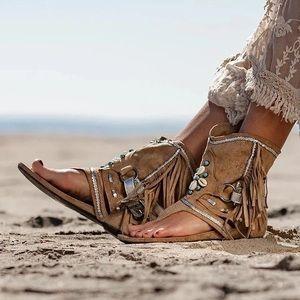 Bohemian Fringe Shell Open Toe Bootie Sandals